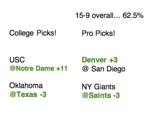 Week 6 picks!